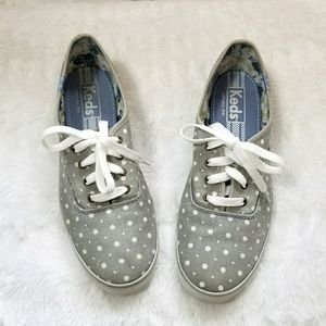 Keds grey and white polka dot shoes, 8.5